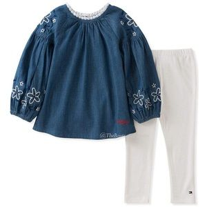 Tommy Hilfiger Matching Sets - Tommy Hilfiger Denim Floral Tunic & White Leggings